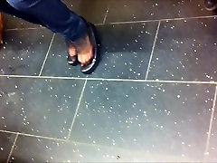 Candid Shoeplay in Black Nylons Feet