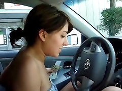 girl in car withdraw money ATM ass