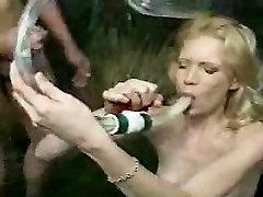 Jessica drinks cum