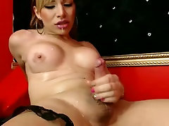 LADYBOY SELF-CUM ON MOUTH FACE TITS...