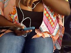 Candid big Haitian tits on bus