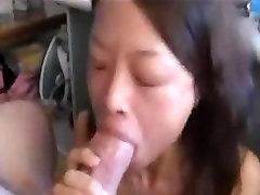 Asian skinny girl sucking cock