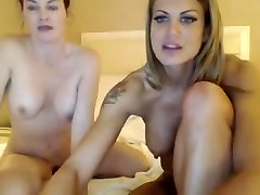 Two girls blonde and brunette play on webcam