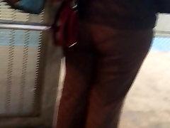 Big booty Latina milf in brown dress pants vpl