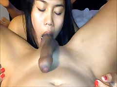 Amateur Asian loves to lick balls and suck cock