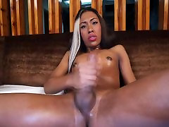 Young black Tgirl with sweet chocolate body