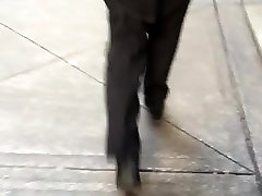 Nice mature slim booty in black dress pants 2