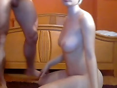 Blond big tits fucked in the pussy and ass & blowjob