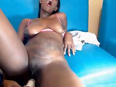 Hot black latina milf fucks dildo