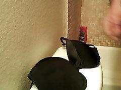 cuming on my moms black bra