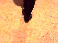Crotch less body suit in public bridge