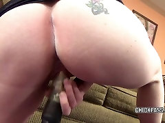 Busty MILF Sinful Skye stuffs her twat with a big dildo