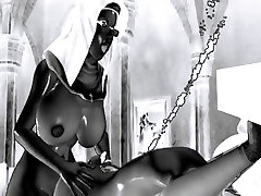 sexy and hot 3D shemale nun fucks a satanic wife
