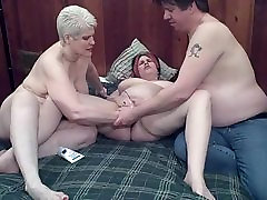 chubby girlfirend first time fisted by mature couple