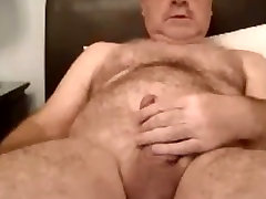 Hot hairy daddy stroking