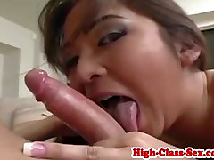 Glam babe assfucked after giving head