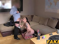 Hot Scottish chick Ashley takes a big facial on casting couc