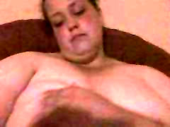 Young chubby bbw rubbing and sucking her big saggy tits 2