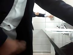 Man in Suit stroking and ejaculating in Public