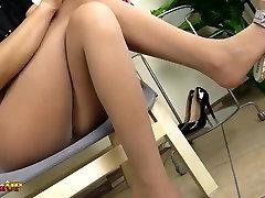 Hot brunette taking a shower in pantyhose