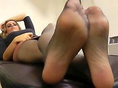Black pantyhose feet after work