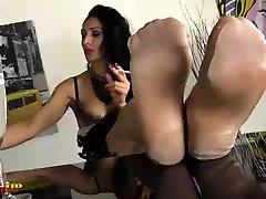 Mistress Alexya laughs about your nylon fetish