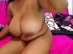 Beautiful black with big tits masturbate and squirt