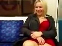 Cougar in mini dress no panties in train