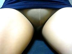 crossdresser pantyhose legs blue mini 025