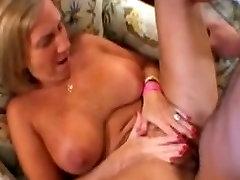 Busty mature receives her first big facial