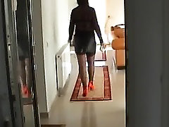Sexy Legs in black mini skirt and red heels part 1