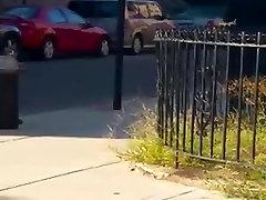 Black guy cumming in the street