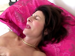 Mature slim granny with hairy pussy