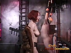 Naughty blonde stud likes being whipped by a smoking hot red
