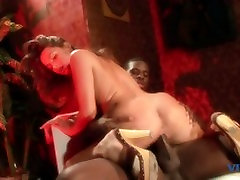 Cock sucking white girl gets a load in the mouth from black dick after fucking
