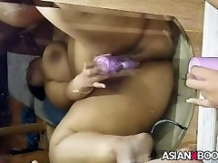 Asian babe toys her cunt and sucks cock