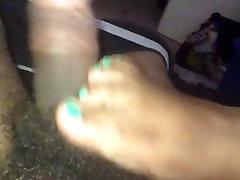 Pre-foot job foreplay - Ebony footjob