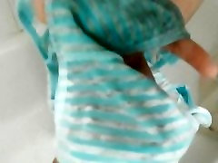 Pissing in Light Blue Striped Fullback Panties