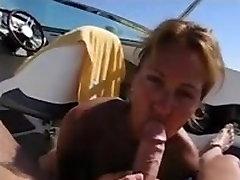 Mature woman giving killer blowjob on a boat