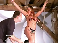 Busty amateur bdsm of screaming milf Gina in harsh tit torture and extreme