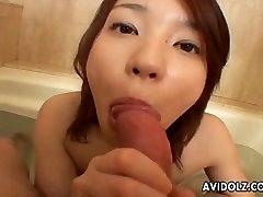 Asian slut sucks on the tip in the. Larisa from 1fuckdate.com