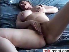 Awaite you at MILF-MEET.COM - Hairy french MILF rubs her pussy to orga