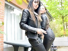 2 hot leathered girls in jitrois catsuit and legging smoking