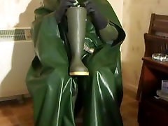First wank wearing my new green rubber cape. Cum on a welly and lick clean.