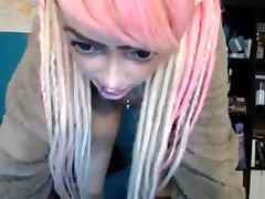 pink hair teen humping large ball