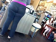 Big ass Candid see through yoga pants