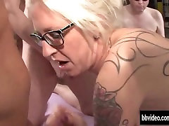 tattooed german milf gets facialized in groupsex 720p