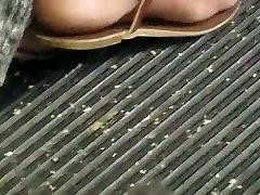 Candid ebony foot on bus
