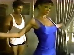 Tiny retro brunette fucks dance partner