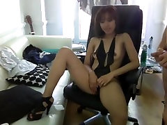 WMAF Asian GF in Lingerie Fucks and Sucks White BF on Webcam